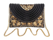 Spice Art Black Cotton Silk Clutch