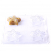 4 Cavity Embossed Star Soap/Bath Bomb Mould Mould G08 x 10