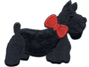 DOGS - SCOTCH TERRIER w/RED BOW FACING RIGHT(Sm)-Iron On Embroidered Patch