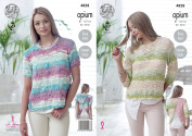 King Cole Womens Opium Knitting Pattern Ladies Easy Knit Open Back Short or 3/4 Sleeve Tops