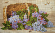 "Needlepoint Kit ""Basket with Lilac"" 19.7""x11.8"" 50x30cm printed canvas 642"