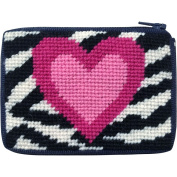Zebra Heart Needlepoint Coin Purse Kit with Persian Wool