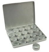 20-Pieces Clear Top Round Aluminium Storage Container Set 3cm Diameter Mini DIY Favour Boxes