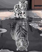 Arts Language Wooden Framed 41cm x 50cm Picture On Wall Acrylic Paint by Numbers Diy Painting T1261 Kitten's Wish - Tiger Shadow