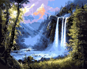 Arts Language Wooden Framed 41cm x 50cm Picture On Wall Acrylic Paint by Numbers Diy Painting T1253 The Waterfall