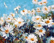Arts Language Wooden Framed 41cm x 50cm Picture On Wall Acrylic Paint by Numbers Diy Painting T1271 White Gerbera