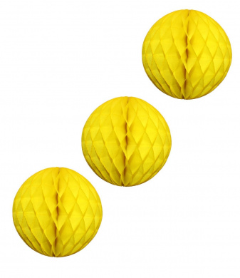 3-pack Large 36cm Honeycomb Tissue Paper Party Ball Decoration (Yellow)