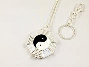 One of a Kind Eight Trigrams 5x Foldable Magnifying Glass Necklace/pendant with Matching Key Chain and Polishing Pouch-ideal for Reading Small Prints (Sparkling Silver) by MagniPros
