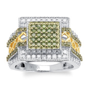 Sterling Silver 1.00ct Green and White Diamond Square Ring