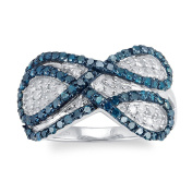 Sterling Silver 1.0ct Blue and White Diamond Infinity Ring