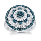 Sterling Silver 1.0ct Blue and White Diamond Ring