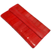 Trifold long purse, multi function wallet, natural genuine eelskin wallet-red