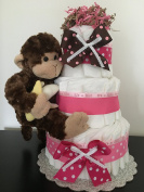 Monkey Theme Nappy Cake - Gift For Baby Girl - Baby Shower Centrepiece, New Baby Gift