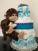 Monkey Theme Nappy Cake - Gift For Baby Boy - Baby Shower Centrepiece, New Baby Gift