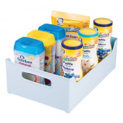 mDesign Storage Organiser Bins for Lotion, Baby Shampoo, Powder, Wipes - 25cm x 13cm x 36cm , Robin Egg Blue