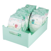 mDesign Storage Organiser Bins for Lotion, Baby Shampoo, Powder, Wipes - 25cm x 13cm x 36cm , Light Mint Green