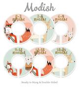 Modish Labels Baby Nursery Closet Dividers, Closet Organisers, Nursery Decor, Baby Girl, Woodland, Tribal, Fox, Bear, Deer, Rabbit, Pink, Mint
