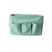 Fieans Foldable Cotton Blend Linen Storage Bins with Handles Nusery Storage Baskets Organiser Fits Shelves Drawer Desks-Green