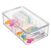 mDesign Baby Feeding Storage Box Organiser for Spoons, Forks, Bibs, Burping Towels - Divided, Clear