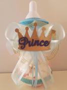 Baby Shower Prince Centrepiece Bottle Large 30cm Piggy Bank Boy Table Decorations