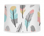 Multicoloured Feather Print Girls Baby Childrens Lamp Shade for Feather Collection