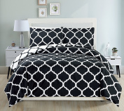 Mk Collection 3pc King Size Modern Elegant Reversible Duvet Cover Set Geometric Contemporary Pattern Black/White New