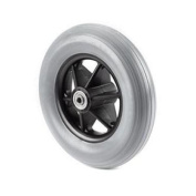 Pair of (2) 20cm X 4.4cm Moulded-on Light Grey Rubber Caster Tyres for Powerchair Wheelchair