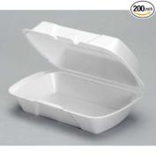 Genpak All Purpose Medium White Deep Foam Hinged Container, 9.25 x 14cm x 8.3cm -- 200 per case.