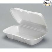 Genpak All Purpose Medium White Shallow Foam Hinged Container, 9.25 x 14cm x 7cm -- 200 per case.