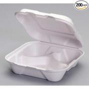 Genpak Natural White Compostable Medium 3 Compartment Hinged Container, 8 x 20cm x 6.4cm -- 200 per case.