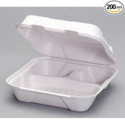 Genpak Natural White Compostable Large 3 Compartment Hinged Container, 9.2 x 23cm x 7.9cm -- 200 per case.