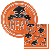 School Colours Class of 2017 Graduation Orange Dessert Plates & Napkins Party Kit for 18
