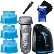 Braun Series 7 799cc-6 Men's Wet & Dry shaver System with Clean & Charge Station + 3 Clean & Renew Cartridges + Double Ended Shaver Brush + HeroFiber Ultra Gentle Cleaning Cloth
