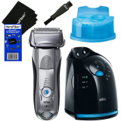 Braun Series 7 799cc-6 Men's Wet & Dry shaver System with Clean & Charge Station + Clean & Renew Cartridge + Double Ended Shaver Brush + HeroFiber Ultra Gentle Cleaning Cloth