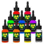 Moms 9 ULTRA VIOLET Nuclear Colours .150ml Set UV Tattoo Ink LOT 30ml