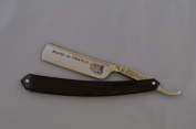 Thiers-Issard 1.6cm Straight Razor, Round Tip, Satin Finish, Black Plastic, Bijou de France, Black Etch