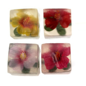 Health And Beauty HIBISCUS DECORATIVE CUBE SOAPS 4 Piece Gift Set, Flower 51865007