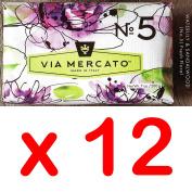 Via Mercato Italian Soap Bar (200g), No. 5 - Waterlily and Sandalwood CASE OF 12