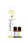 FereVitae Essential Oil Aromatherapy pack with Sweet Almond Oil 8oz, Lavender 10ml and Tea Tree 10ml Oil