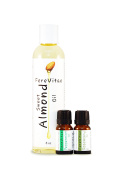 FereVitae Essential Oil Aromatherapy pack with Sweet Almond Oil 8oz, Rosemary 10ml and Peppermint 10ml Oil