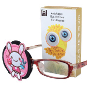 Plinrise Pure Cotton Amblyopia Eye Patch For Glasses,Treat Lazy Eye,Amblyopia And Strabismus,Children Eye Patch With Cartoon Sticker - Right Pink Rabbit