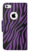 Reiko wallet case 3 in 1 with Zebra Pattern & kickstand for IPHONE 5 - Retail Packaging - Purple