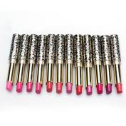 Tenworld 1 Lot of 12pcs Women Moisturising Matte Lipsticks with 12 Colours