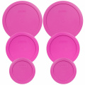 Pyrex (2) 7200-PC (2) 7201-PC (2) 7402-PC Pink Round Plastic Storage Lids - 6 Pack
