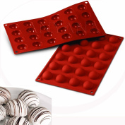 Anyana 2pcs 30 Cavity Semi Sphere Half Round Dome Silicone Mould Chocolate Teacake Baking Tray