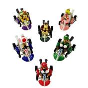6 Mario Kart Pull Back Cars Cake Toppers 5.1cm PVC Toys