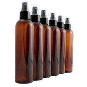 240ml Amber Brown Empty Plastic PET Spray Bottles with Fine Mist Atomizer Caps (6-pack); for DIY Home Cleaning, Aromatherapy, & Beauty Care