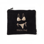 Miamica Black and Rose Gold Embroidered Bikini Bathing Suit Beach Bag
