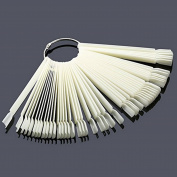 51pcs/Set DIY False Nude Nail Art Fan Wheel Polish Practise Tips Sticks Display Tool  .  White)