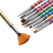 Nail Art Painting Pen Brush, Fheaven 9Pcs Beauty Nail Art Set Dotting Painting Drawing Polish Brush Pen Tools
